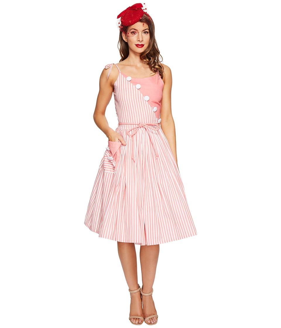 Unique Vintage Hamilton Swing Dress (Peach/White Stripe) Women