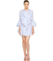 Francesco Scognamiglio - Long Sleeve Striped Ruffle Front Dress
