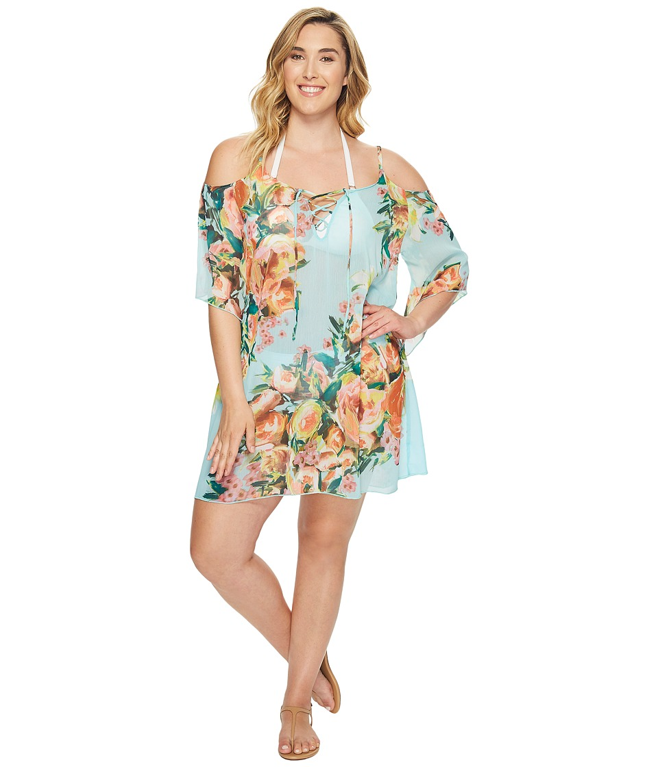 BECCA by Rebecca Virtue Plus Size High Tea Cold Shoulder Dress Cover-Up (Multi) Women
