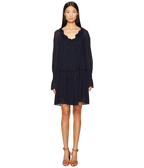 See by Chloe Jersey Long Sleeve Ruffle Dress