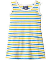Toobydoo - Blue & Yellow Stripe Baby Pocket Dress (Infant/Toddler)