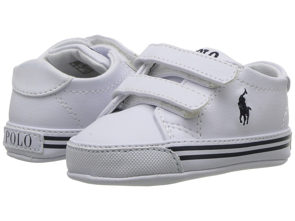 Polo Ralph Lauren Kids - Slater EZ (Infant/Toddler) (White Tumbled w/Navy Pony) Kids Shoes