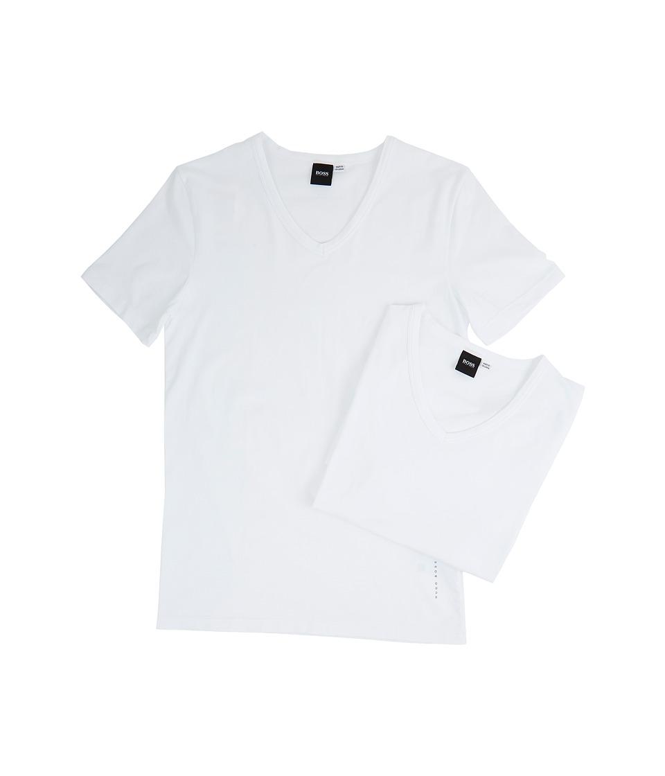 BOSS Hugo Boss T-Shirt V-Neck 2-Pack CO/EL 10194356 01 (White) Men