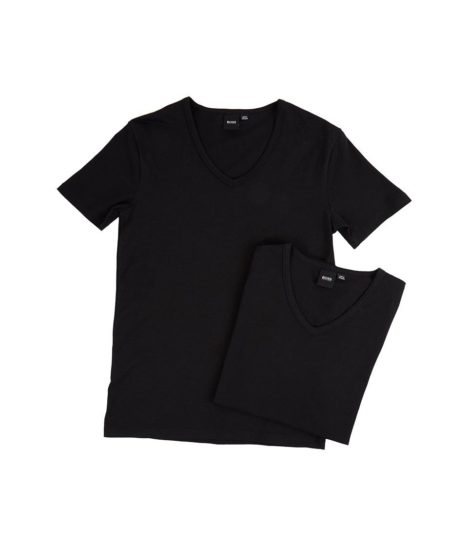 BOSS Hugo Boss T-Shirt V-Neck 2-Pack CO/EL 10194356 01 (Black) Men