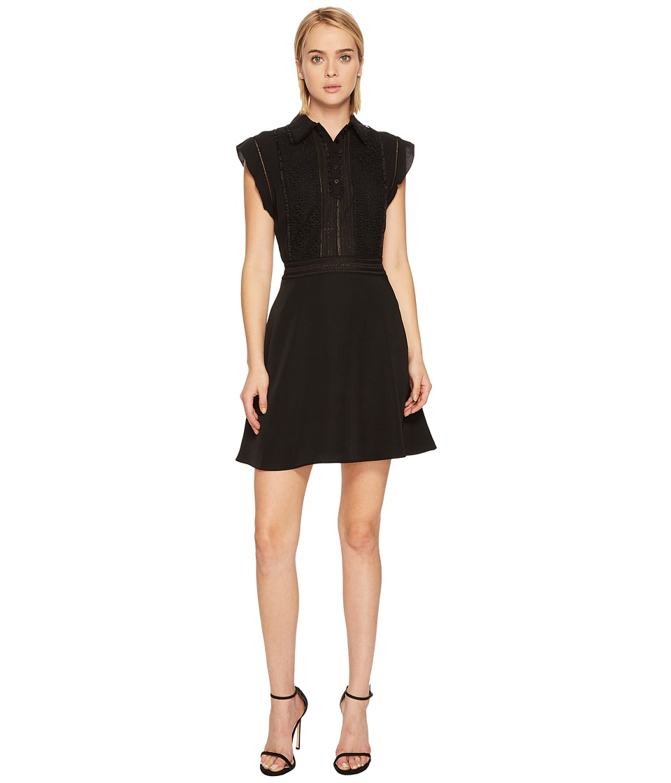 The Kooples Polo Style Sleeveless Dress with Frilly Sleeves (Black) Women