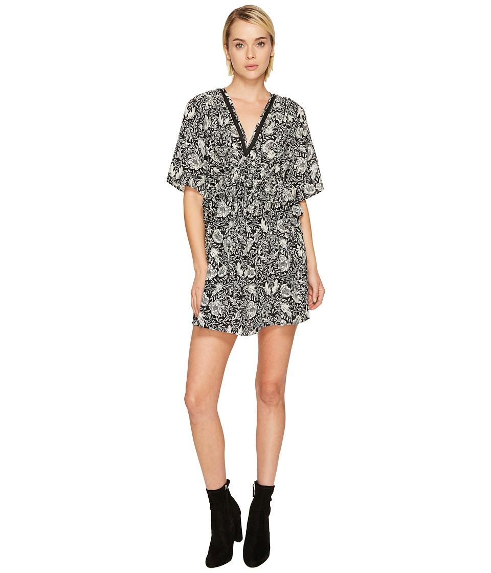 The Kooples Short Sleeve Dress with Print Design, Front Zip and Waist Frills (Black) Women