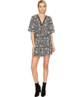 The Kooples - Short Sleeve Dress with Print Design, Front Zip and Waist Frills