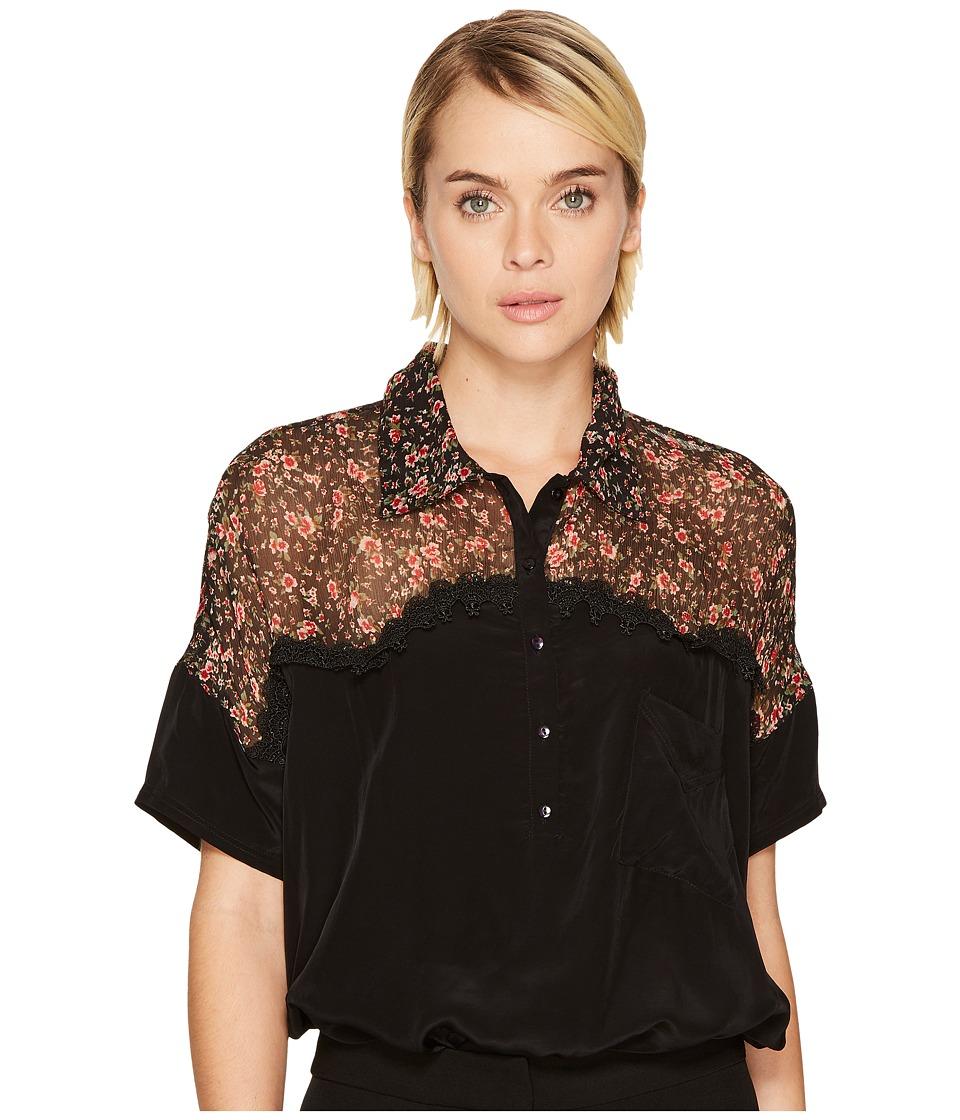 The Kooples - Short Sleeved Bat-Style Polo Shirt (Black) Womens Short Sleeve Pullover