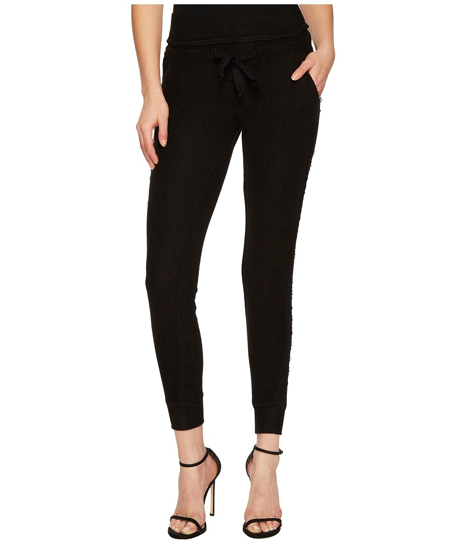The Kooples - Fleece Trousers with Lace On The Sides (Black) Womens Casual Pants