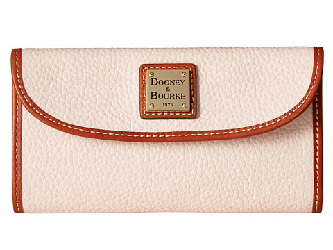 Dooney & Bourke Pebble Leather New SLGS Continental Clutch - Blush/Tan Trim