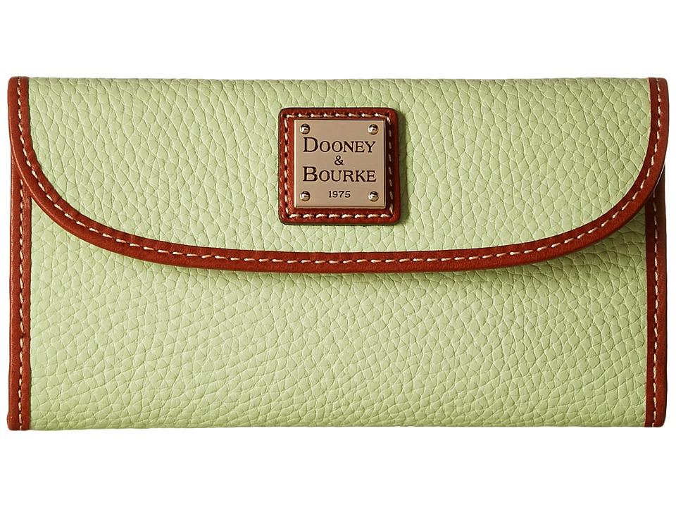 Dooney & Bourke Pebble Leather New SLGS Continental Clutch (Key Lime/Tan Trim) Clutch Handbags