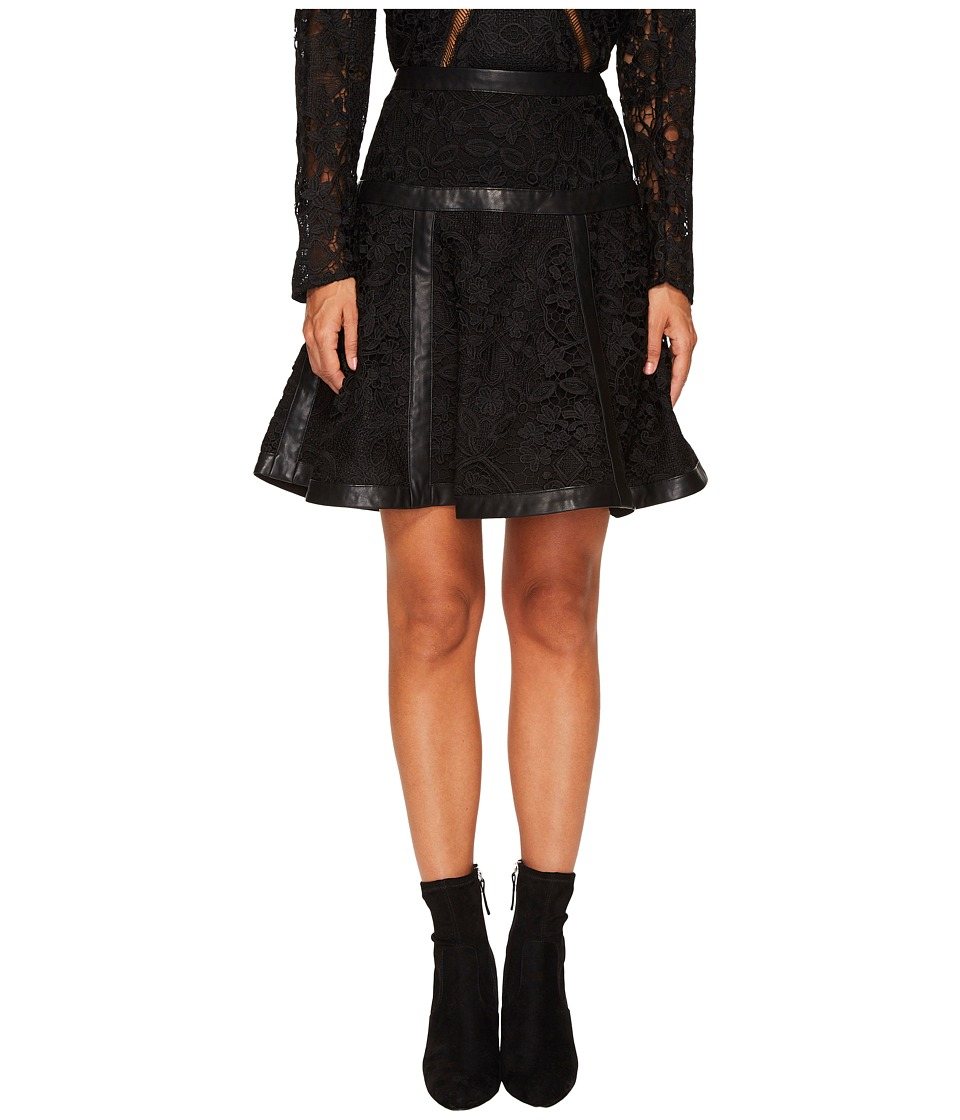 The Kooples - Lace Skirt with Stripes (Black) Womens Skirt