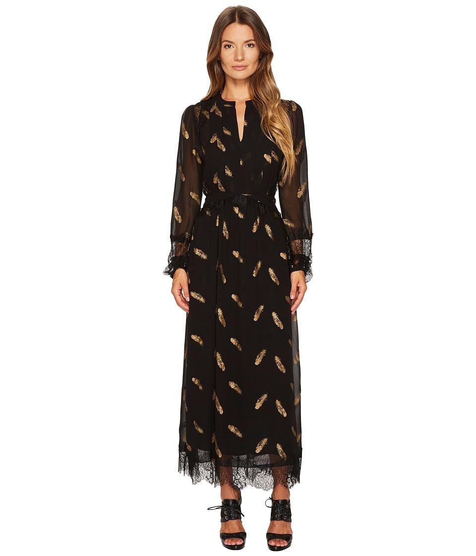 The Kooples Long Long Sleeve Dress with Lace Stripe Details (Black) Women
