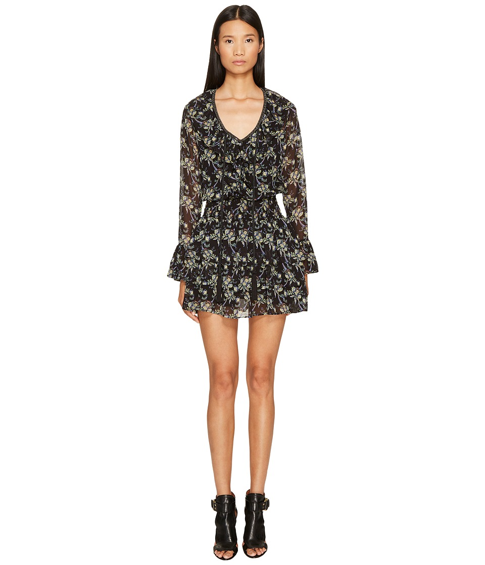 The Kooples Low-Cut Short Dress with Long Sleeves and Frilly Hem (Black) Women