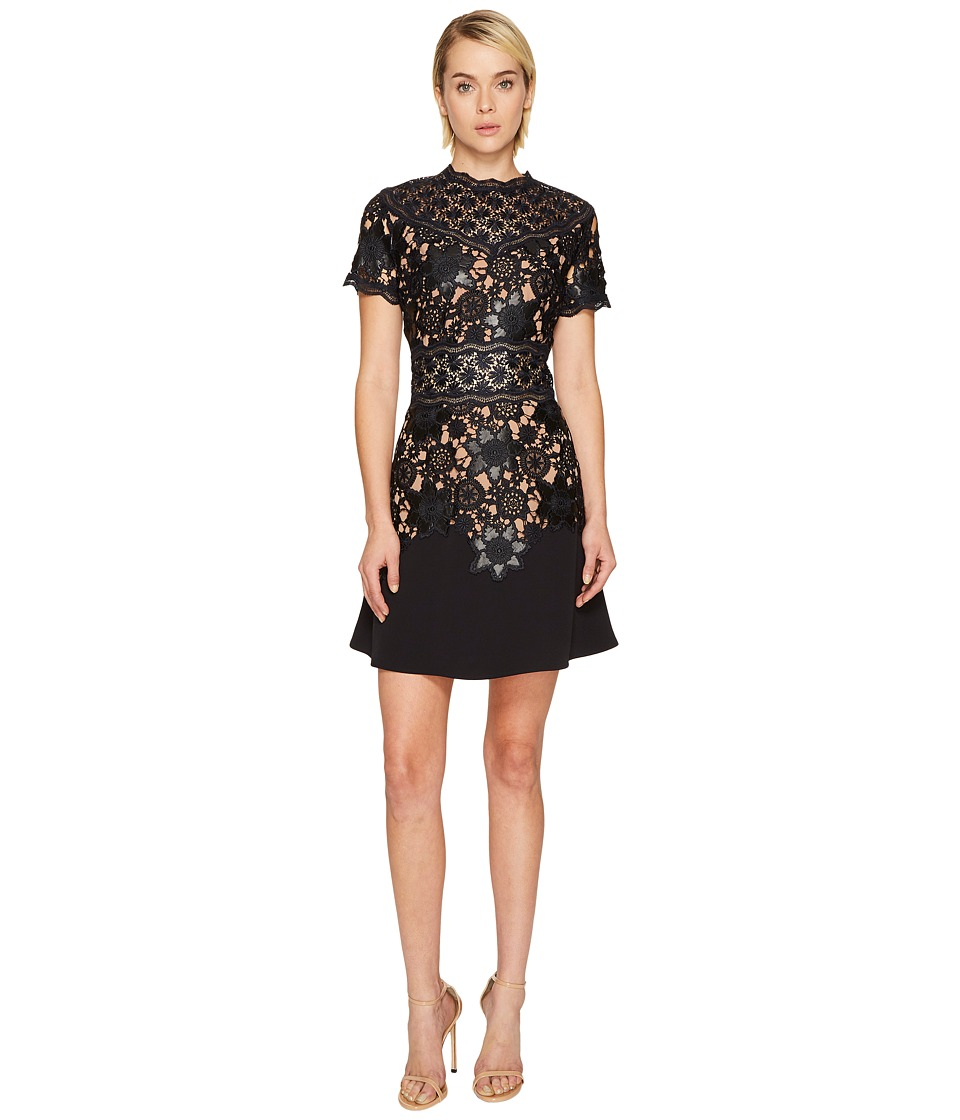 The Kooples Short Sleeve Dress with Lace Detail On The Top and Waist (Navy) Women