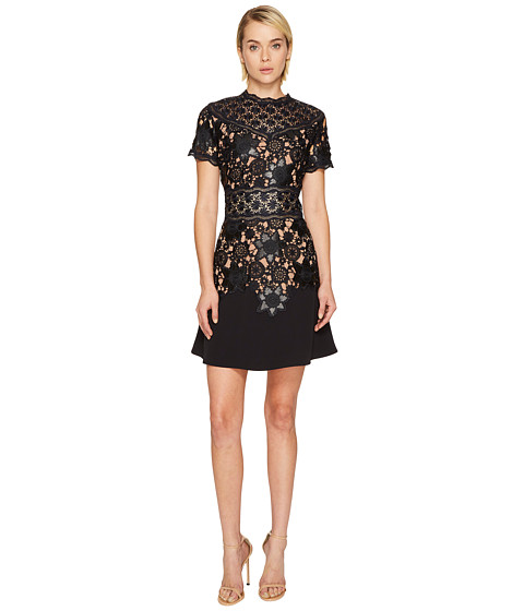 The Kooples Short Sleeve Dress with Lace Detail On The Top and Waist