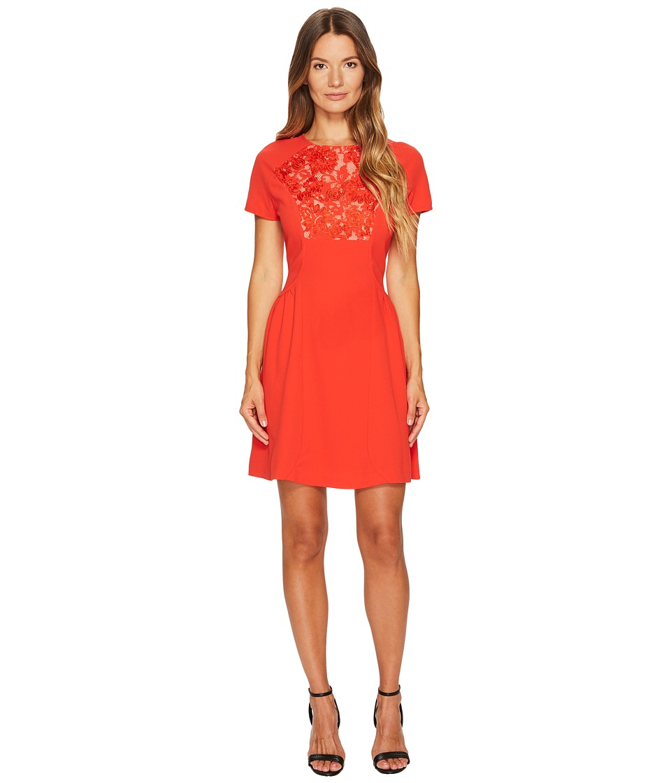 The Kooples - Short Sleeve Dress with Front Lace Yoke (Red) Womens Dress