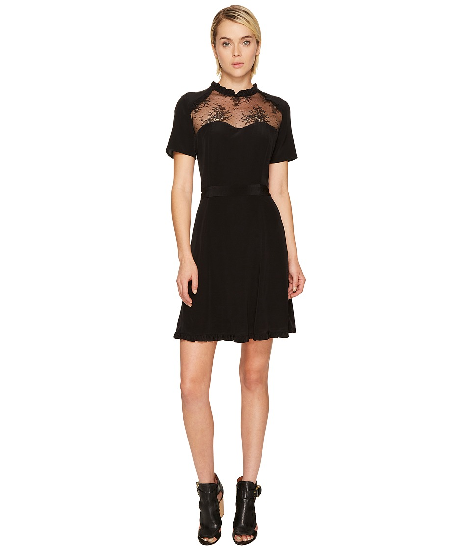 The Kooples Short Sleeve Dress in Silk Taffeta (Black) Women