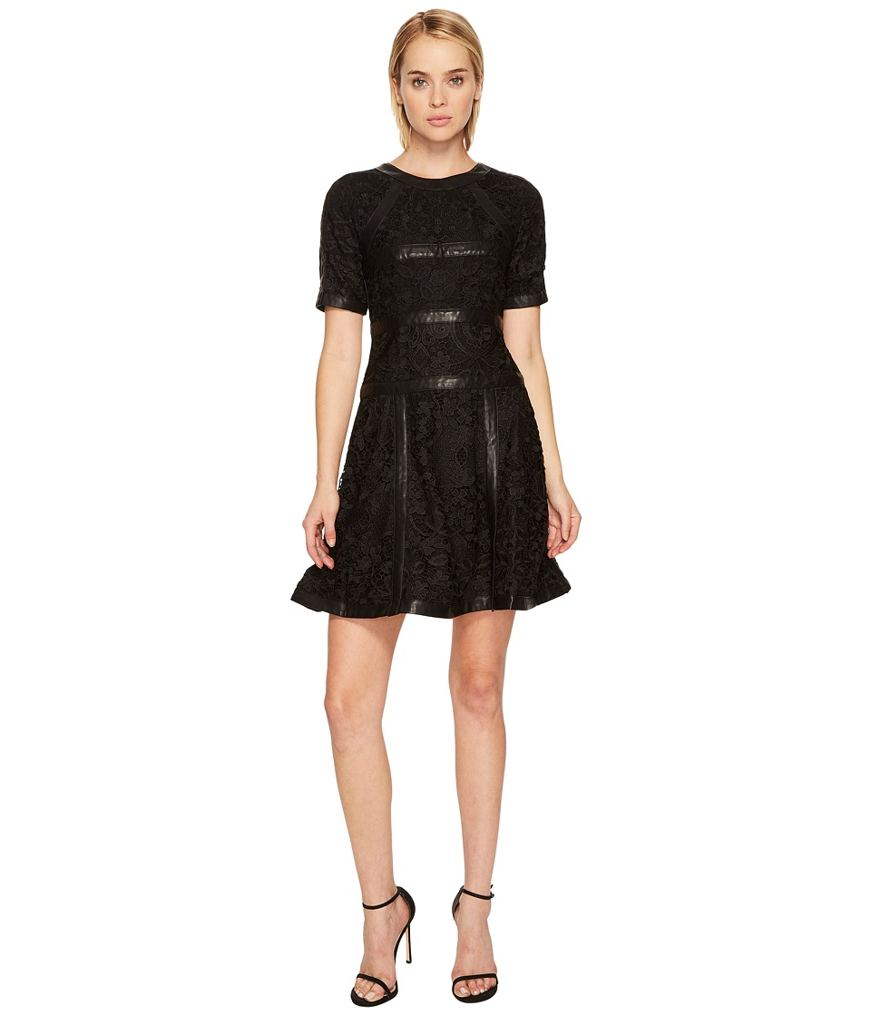 The Kooples Lace Dress with Stripes (Black) Women