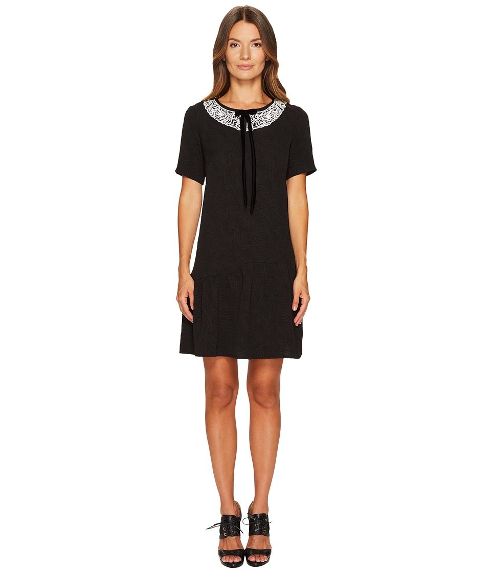 The Kooples Short Sleeve Dress with Rear Zip and Frilled Hem (Black) Women