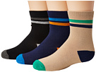 Jefferies Socks Stripe Navy/Khaki/Black Crew 3-Pack (Toddler/Little Kid/Big Kid)