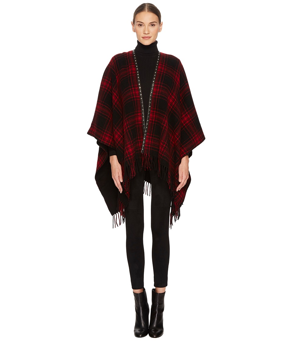 The Kooples - Check-Pattern Poncho (Red) Womens Clothing