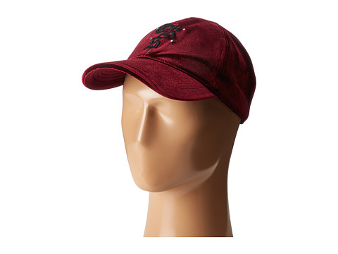 The Kooples Velvet Baseball Cap - Burgundy