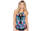 Kenneth Cole - Tropical Tendencies High Neck Keyhole Tankini Top w/ Tummy Toner
