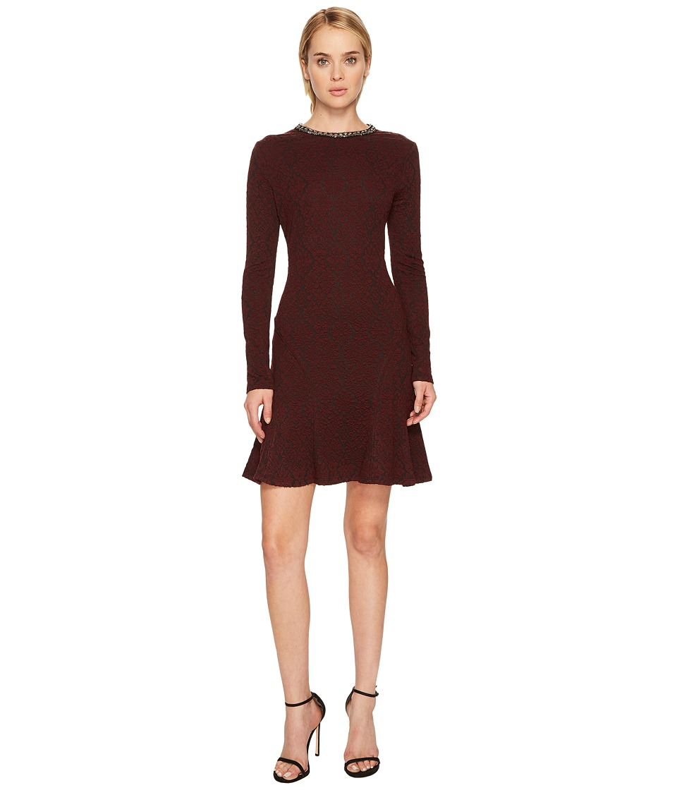 The Kooples Flowing Dress with Jewelled Collar (Burgundy) Women