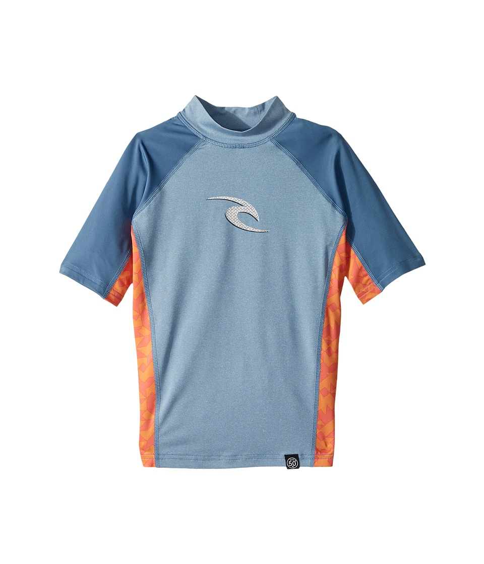 Rip Curl Kids - Wave Short Sleeve (Big Kids) (Blue) Boys Swimwear