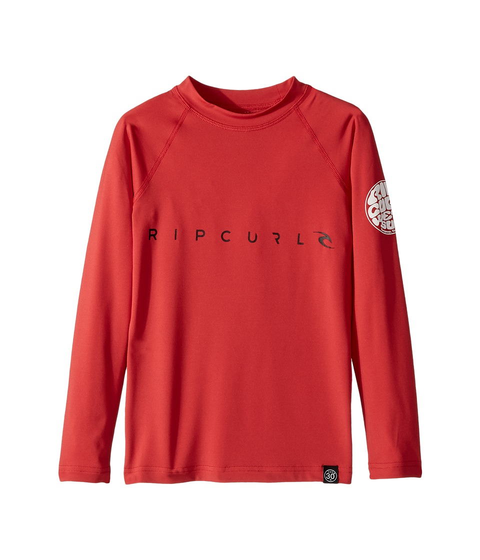 Rip Curl Kids - Dawn Patrol UV Tee Long Sleeve (Big Kids) (Red) Boys Swimwear