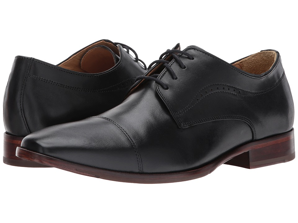Johnston & Murphy - McClain Cap Toe (Black Full Grain) Mens Lace Up Cap Toe Shoes