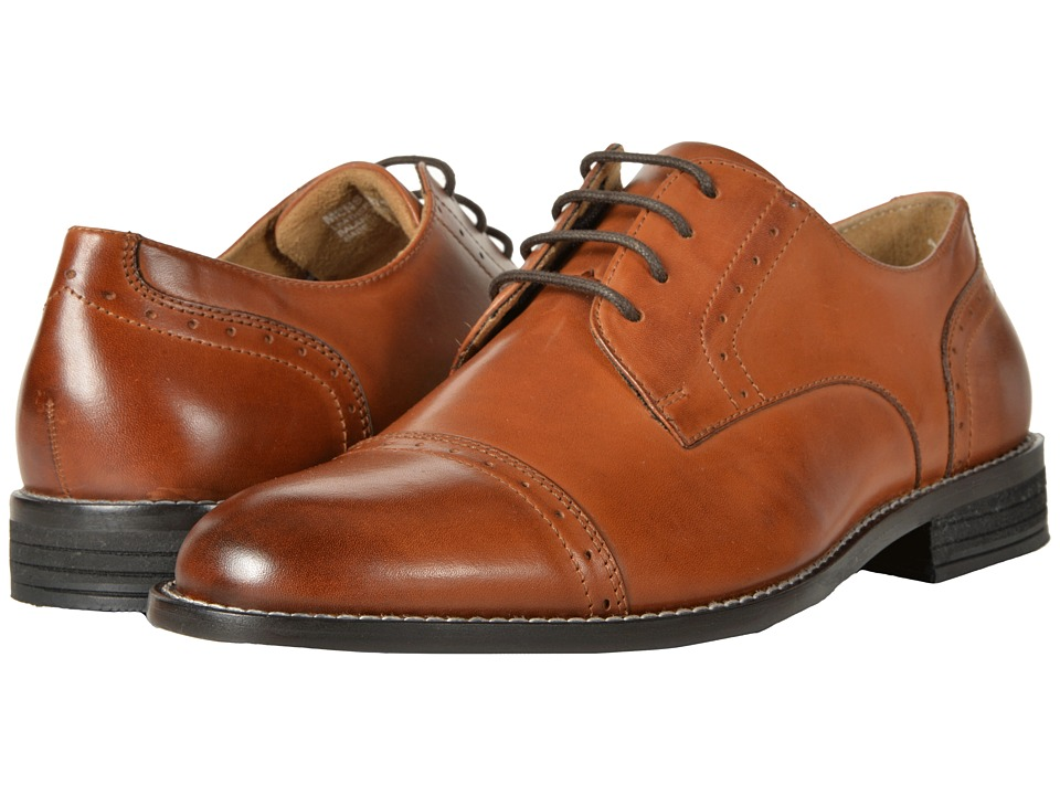 Nunn Bush - Sparta Cap Toe Dress Casual Oxford (Cognac) Mens Lace Up Cap Toe Shoes