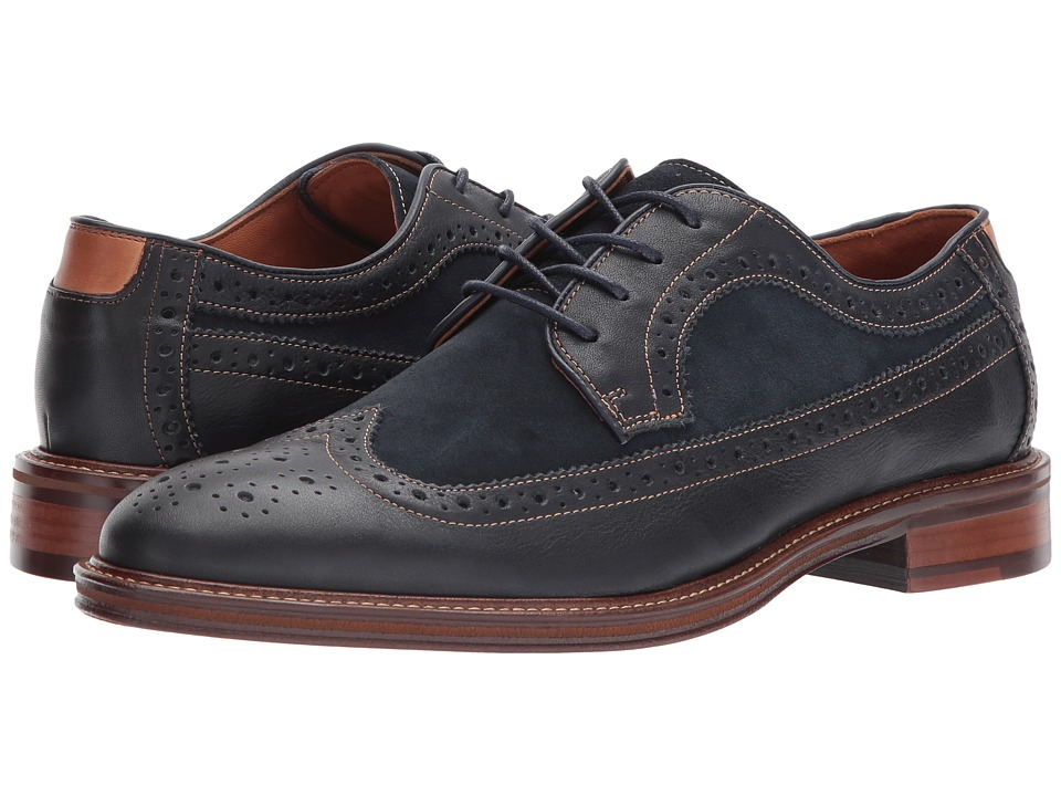 Mens Vintage Style Shoes| Retro Classic Shoes Johnston amp Murphy - Warner Wingtip Navy Soft Full GrainNavy Suede Mens Lace Up Wing Tip Shoes $155.00 AT vintagedancer.com