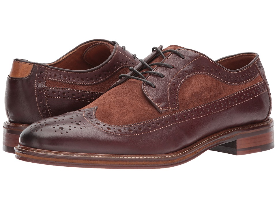 Mens Vintage Style Shoes| Retro Classic Shoes Johnston amp Murphy - Warner Wingtip Mahogany Soft Full GrainSnuff Suede Mens Lace Up Wing Tip Shoes $155.00 AT vintagedancer.com