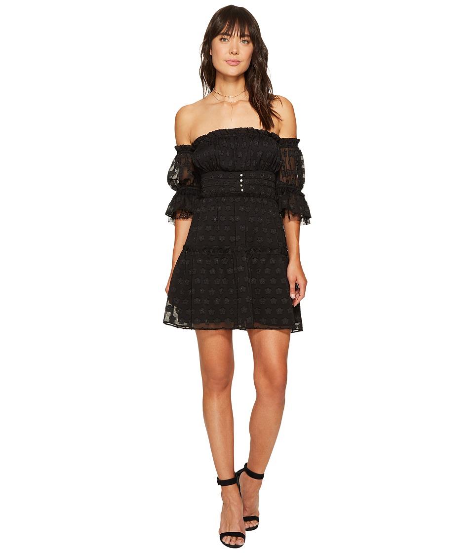 For Love and Lemons Modern Love Off Shoulder Dress (Black Daisy) Women