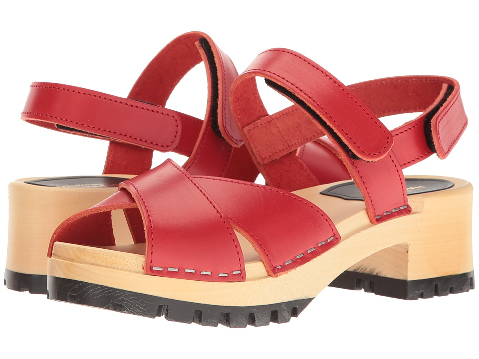 Vintage Style Sandals – 1930s, 1940s, 1950s, 1960s Swedish Hasbeens - Cross Tracta Red Womens Shoes $179.00 AT vintagedancer.com