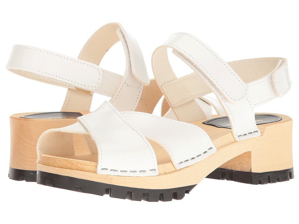 Retro Sandal History: Vintage and New Style Shoes Swedish Hasbeens - Cross Tracta White Womens Shoes $179.00 AT vintagedancer.com