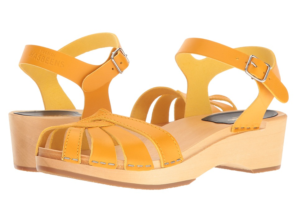 Swedish Hasbeens Cross Strap Debutant (Warm Yellow) Sandals