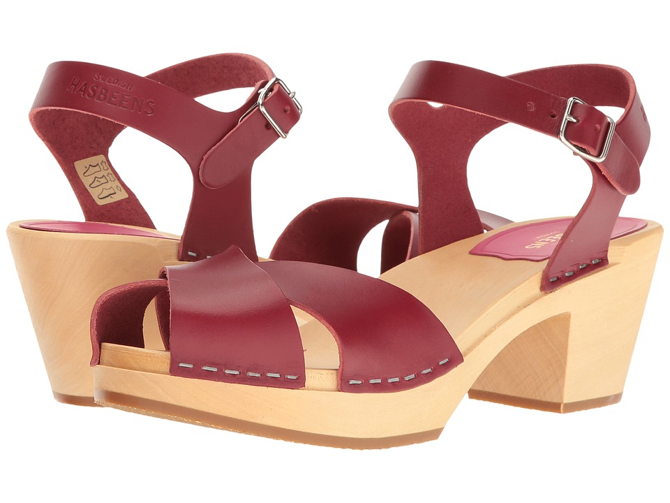 Vintage Style Sandals – 1930s, 1940s, 1950s, 1960s Swedish Hasbeens - Mirja Wine Red Womens Shoes $145.99 AT vintagedancer.com