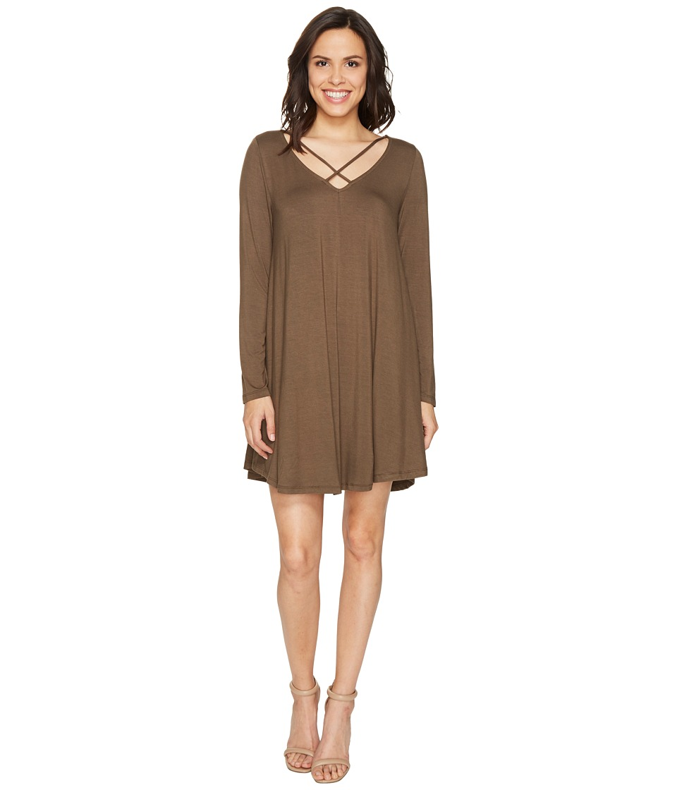 Culture Phit Mille Long Sleeve Dress with Strap Detail (Olive) Women