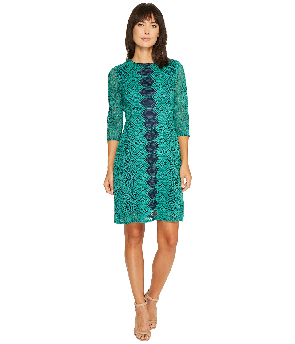 Christin Michaels Josette Lace Dress with Front Detail (Green/Navy) Women