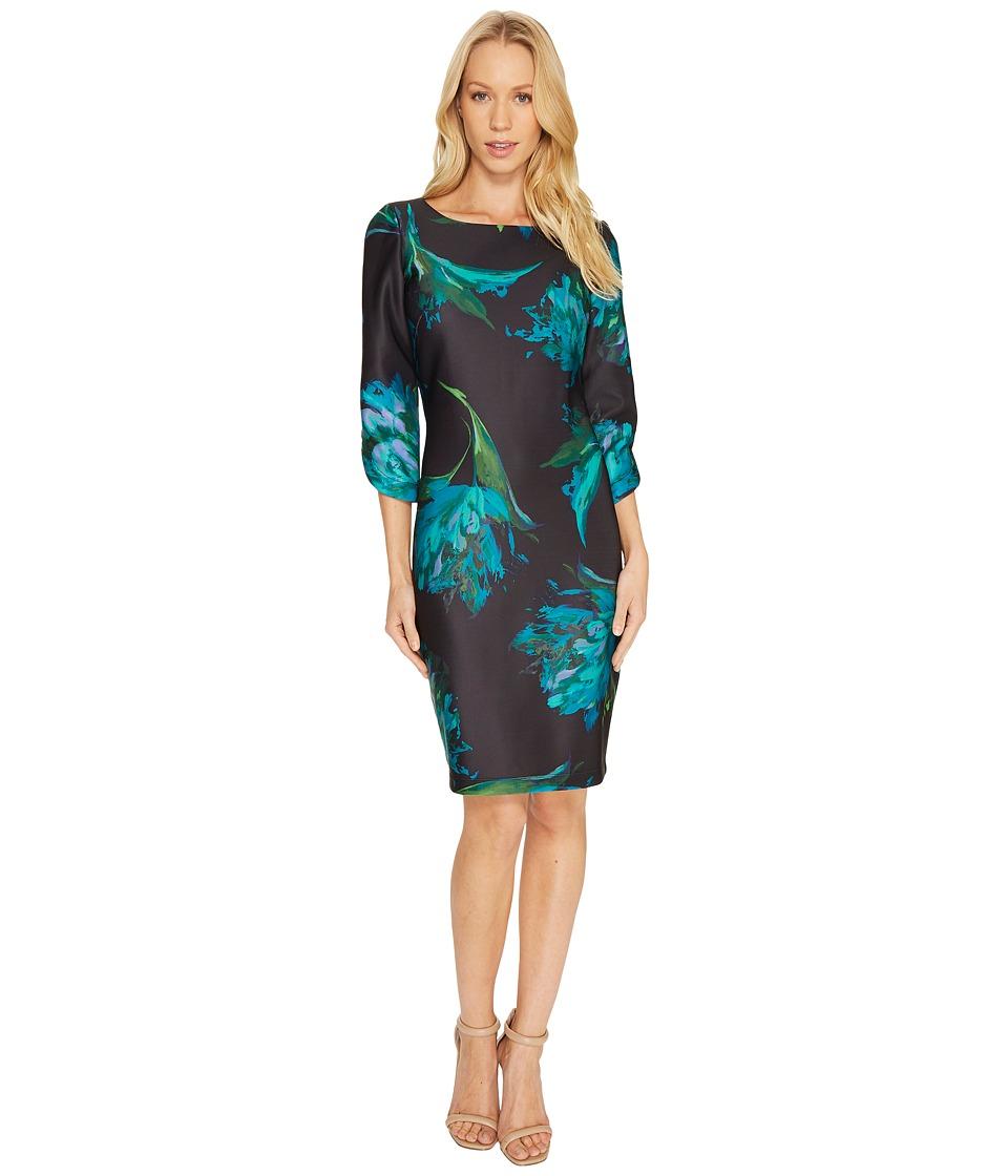 Christin Michaels Alyssandra 3/4 Sleeve Floral Dress (Black/Teal) Women