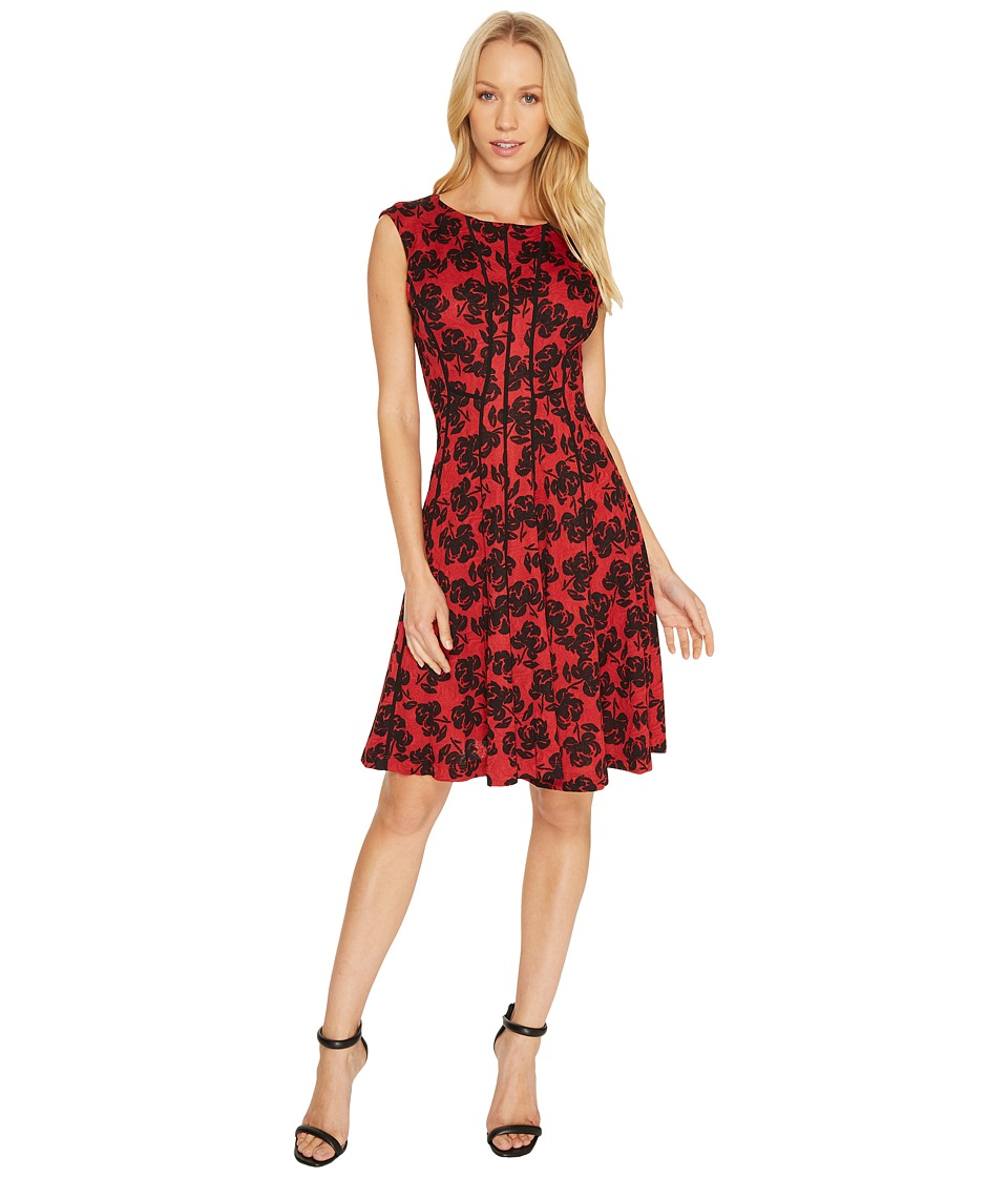 Christin Michaels Adalene Sleeveless Floral Dress (Red/Multi) Women