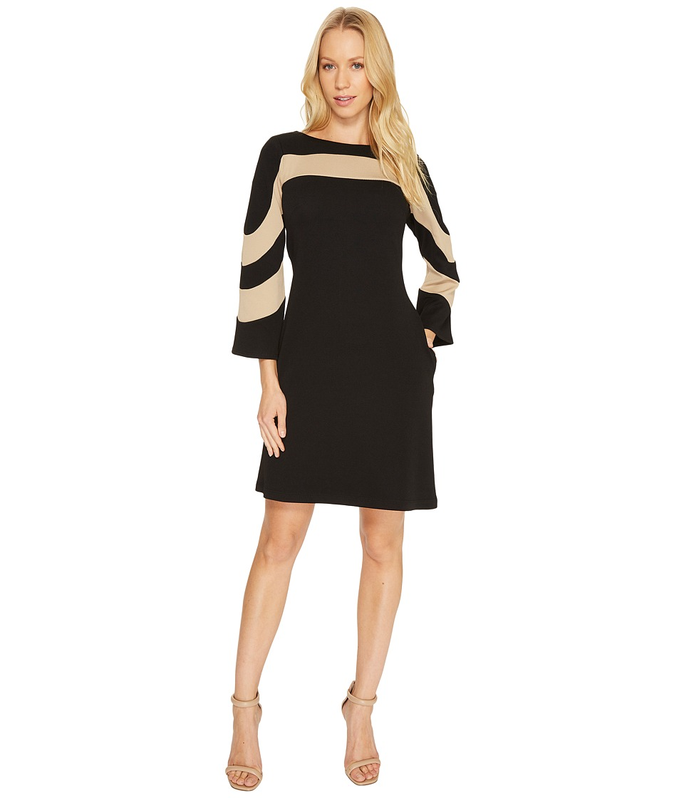 Christin Michaels Erin Bell Sleeve A-Line Crepe Dress (Black/Taupe) Women