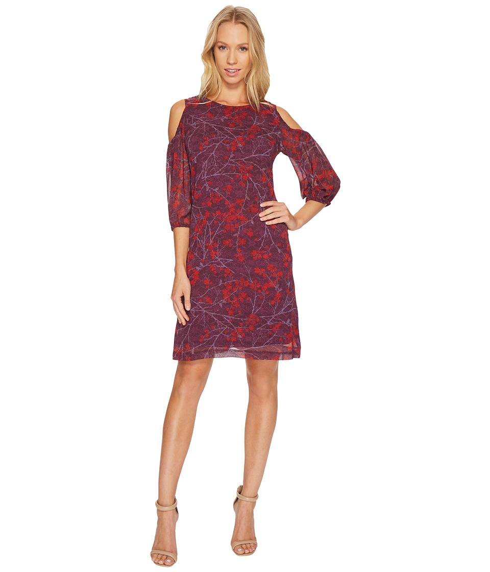 Christin Michaels Cecily Cold Shoulder Floral Dress (Red/Merlot) Women