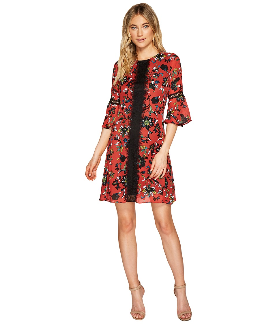 Christin Michaels Esther Printed Dress with Lace Inset (Red/Multi) Women