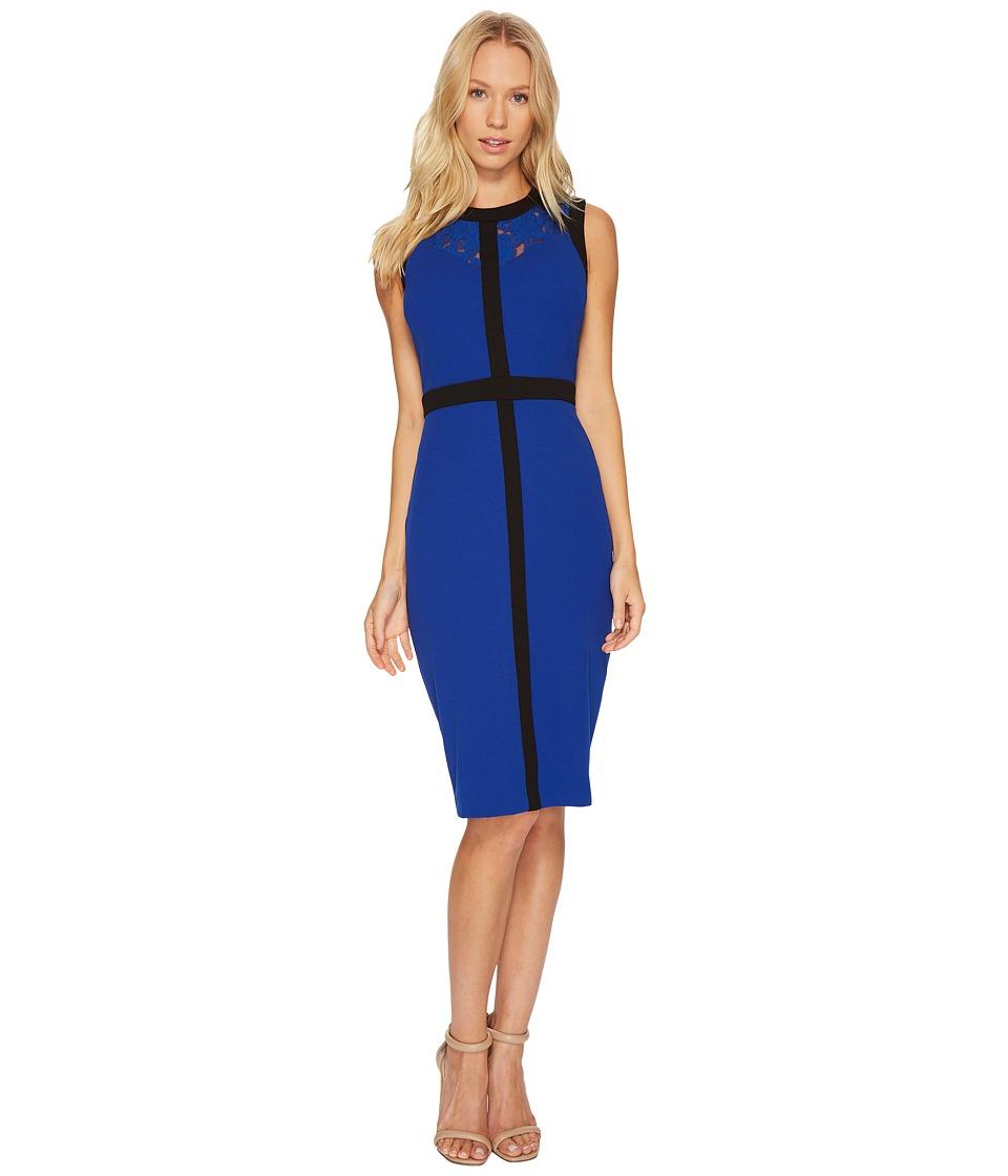 Christin Michaels Dylan Sleeveless Dress with Neck Detail (Cobalt/Black) Women
