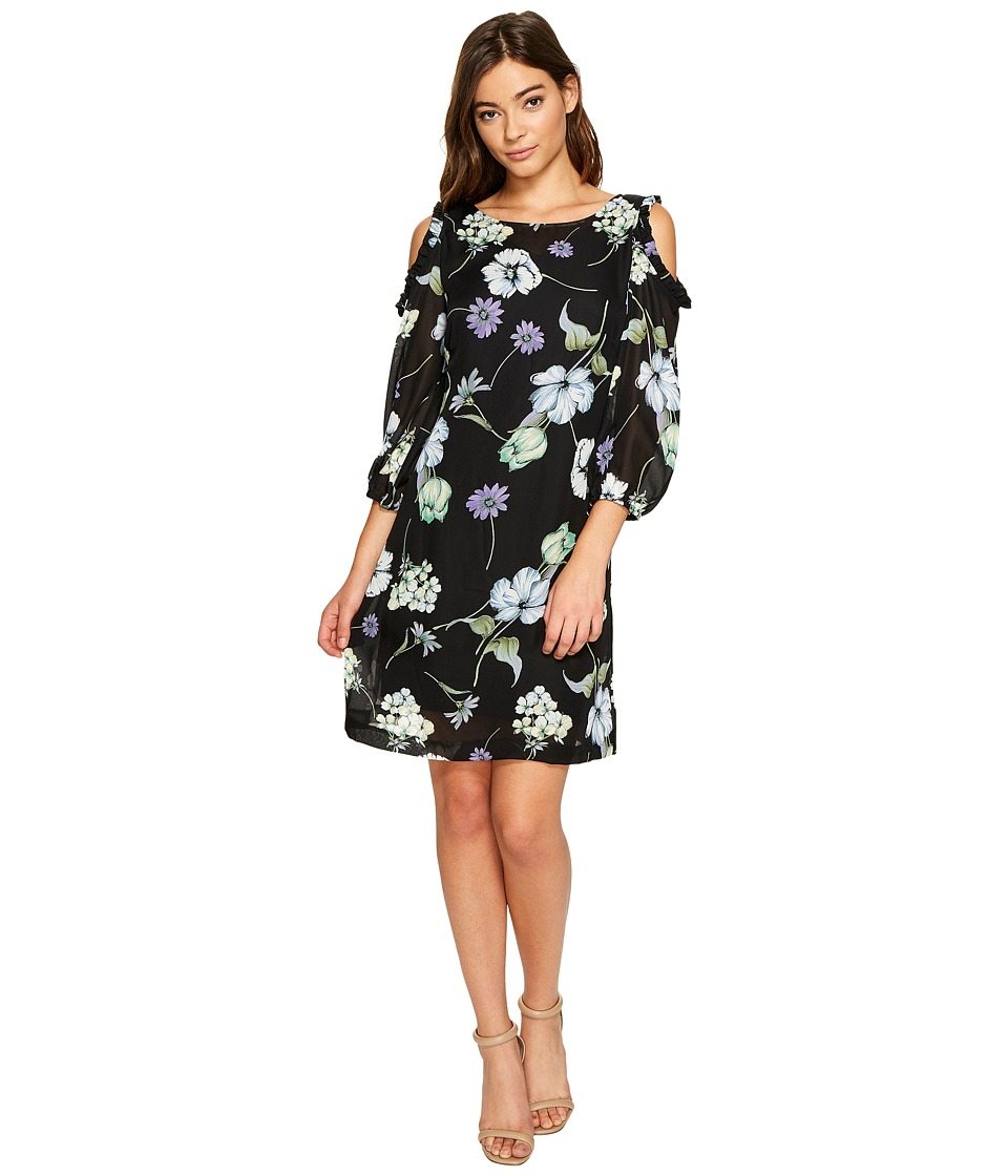 Christin Michaels Juliet Long Sleeve Printed Dress (Black/Purple) Women