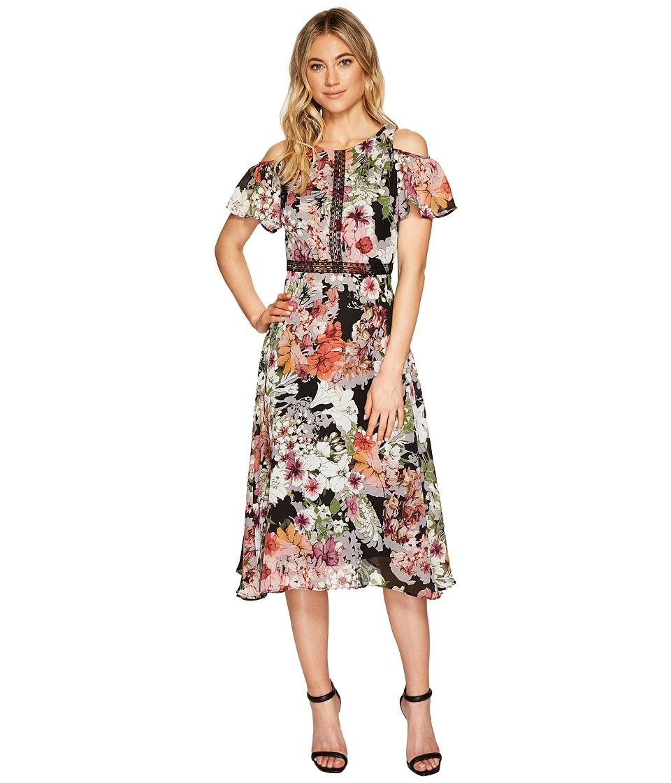 Christin Michaels Emerson Cold Shoulder Dress with Lace Inset (Black/Multi) Women